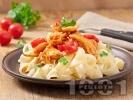 Рецепта Паста папарделе (или спагети) с бяло пилешко месо и доматен сос